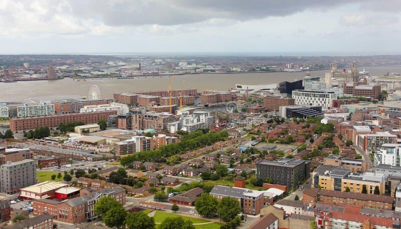 看起来利物浦一张的鸟瞰图西北 免版税库存图片