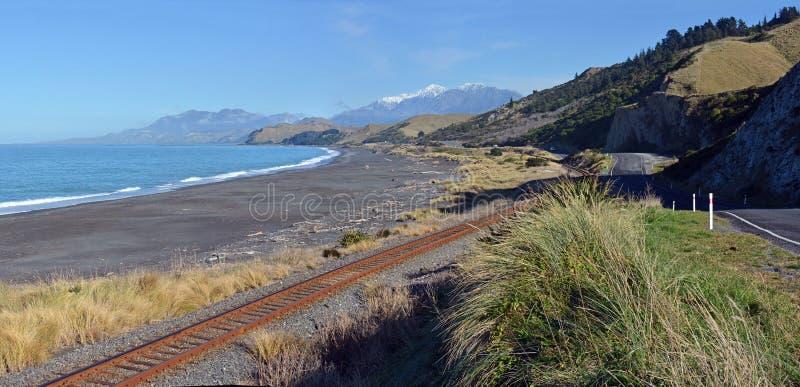 看起来南全景,新西兰的Kaikoura海岸 库存照片