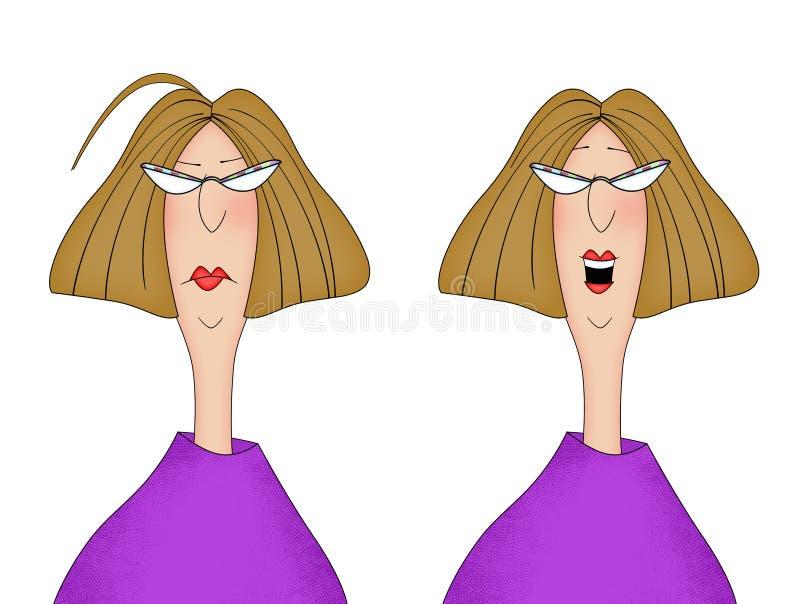 看起来同一名的妇女的两个图象不快乐和愉快 库存例证