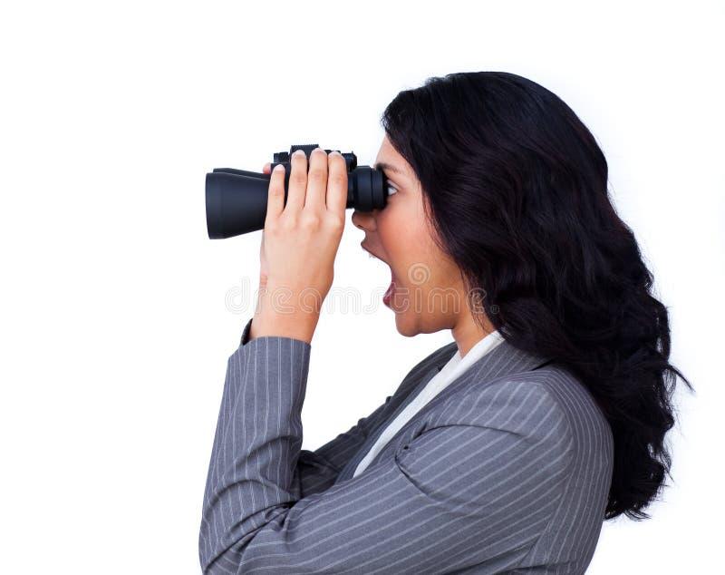 看起来女实业家的远期惊奇 库存照片