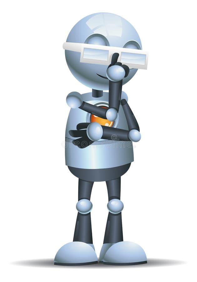 看起来小的机器人的戴着眼镜巧妙 库存例证