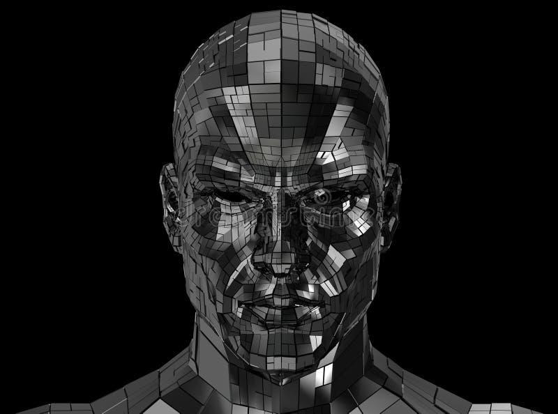 看起来机器人的面孔前面在照相机 免版税库存照片