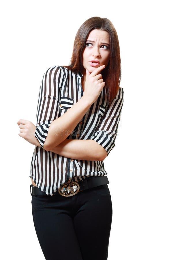 看起来的妇女吓唬 免版税库存照片