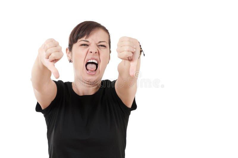 看起来的妇女的纵向憎恶显示thum 库存图片