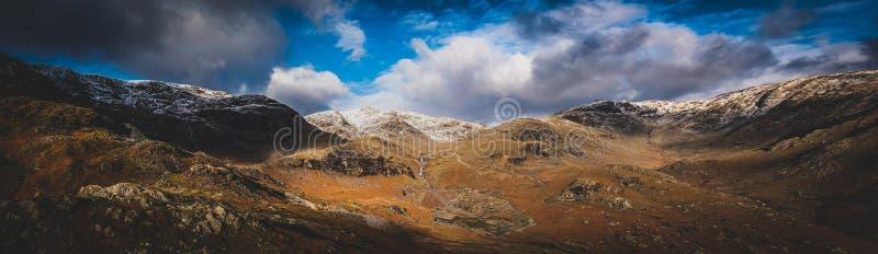 看起来的Panorana北部从Coniston老人,英国湖区 免版税图库摄影