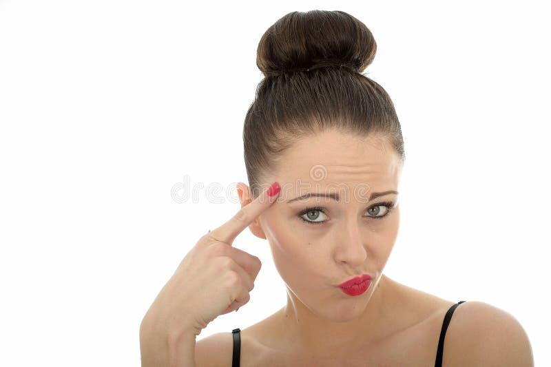 看起来美丽的可爱的年轻白种人的妇女讽刺和 库存照片