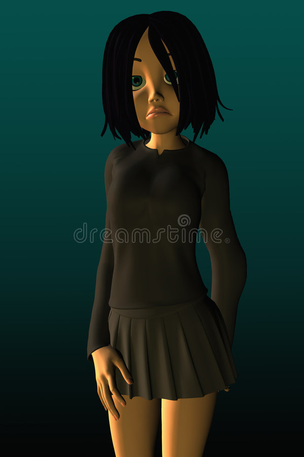 看起来青少年不快乐的沮丧的女孩 向量例证