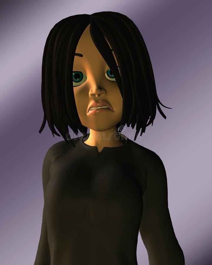 看起来青少年不快乐的沮丧的女孩 皇族释放例证