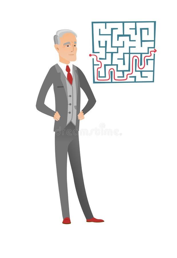 看迷宫用解答的商人 库存例证