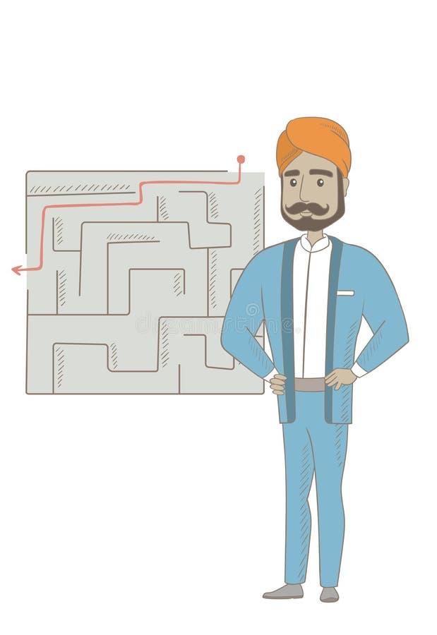 看迷宫用解答的商人 向量例证