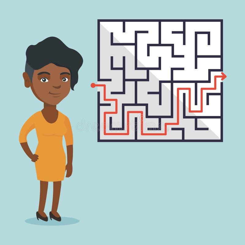 看迷宫用解答的女商人 向量例证
