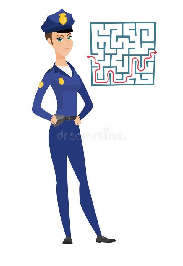看迷宫用解答的警察妇女 向量例证