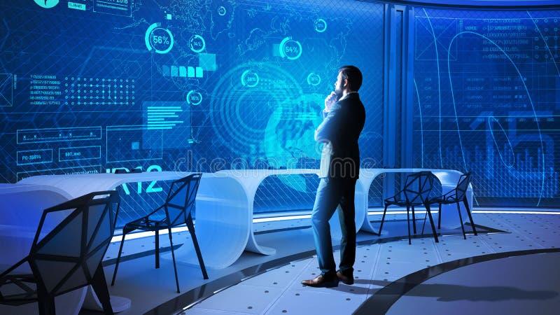 看透明屏幕和想法的数据科学家 免版税库存照片