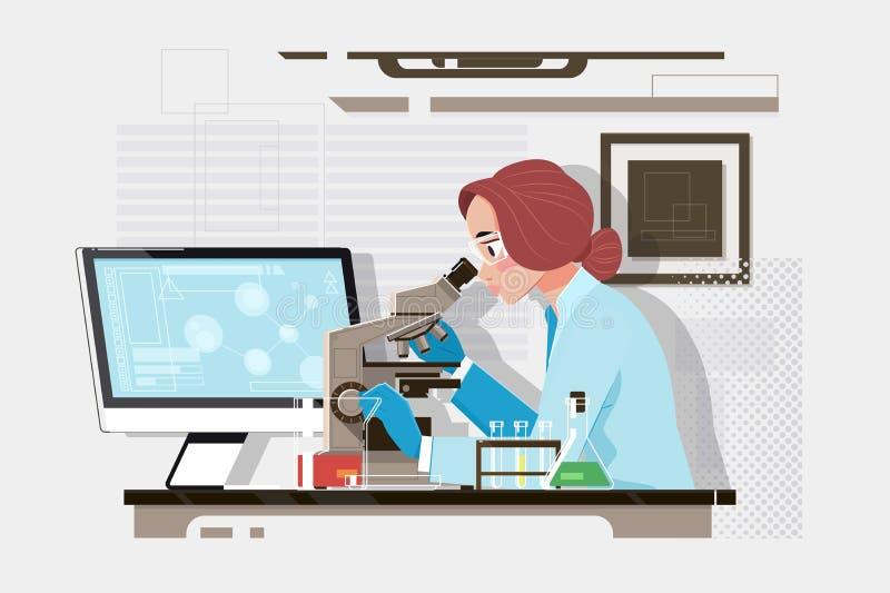 看通过一个显微镜的年轻科学家在实验室 做一些研究的年轻科学家 r 皇族释放例证