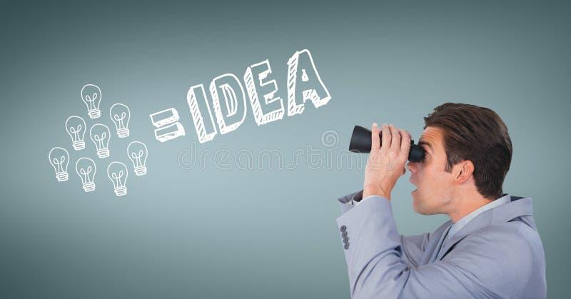 看通过双筒望远镜的惊奇的人反对与例证的蓝色背景 免版税库存图片