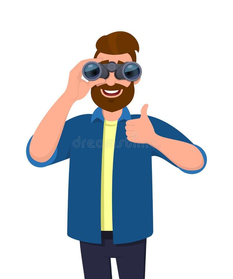看通过双筒望远镜&打手势的便衣的成功的有胡子的人,做与手手指的赞许标志 向量例证