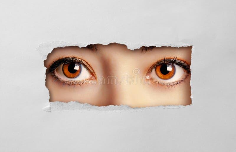 看通过孔纸板的美丽的女性眼睛 库存照片