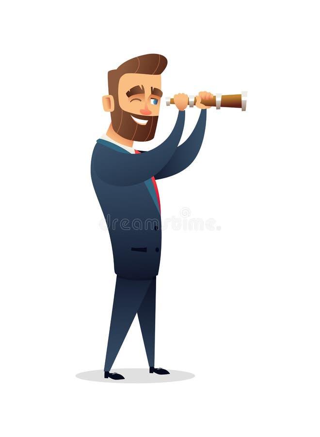 看通过放大镜的成功的胡子商人字符 搜索解决方法 研究概念il的事务 库存例证