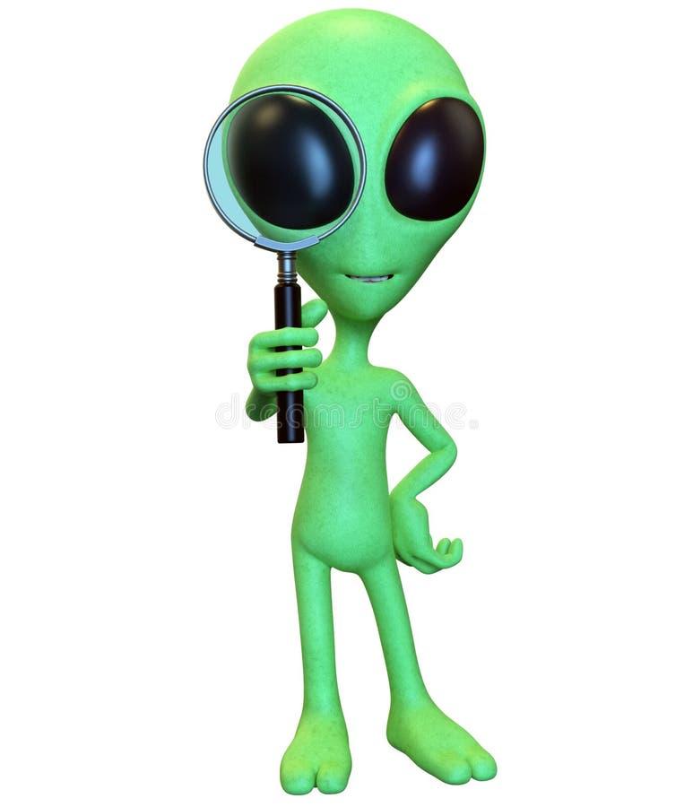 看通过放大镜的绿色动画片外籍人 库存例证