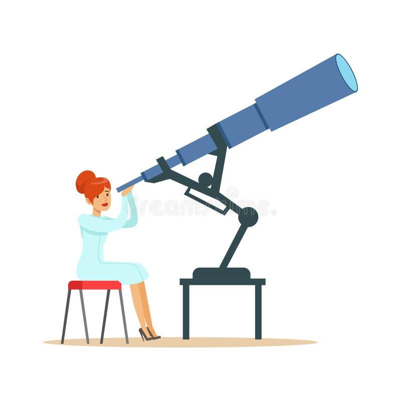 看通过望远镜的妇女天文学家 皇族释放例证