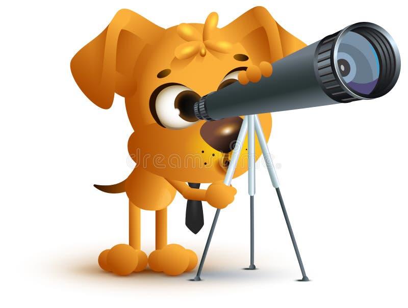 看通过望远镜的黄色乐趣狗老师 天文教训 向量例证