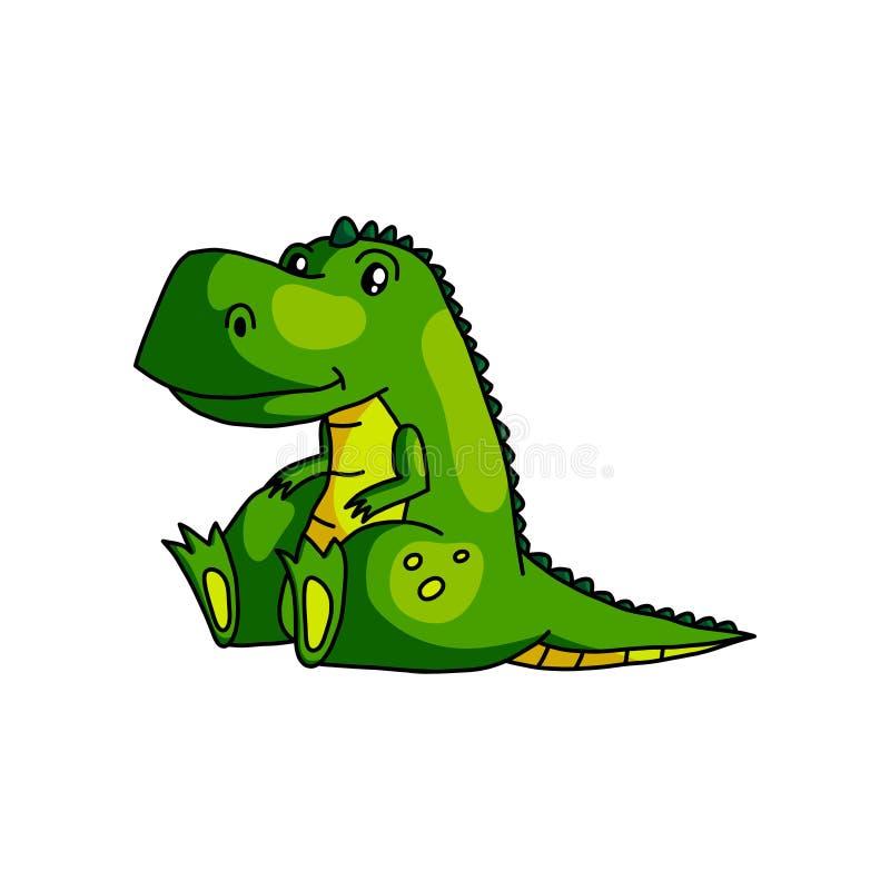 看horizont早晨日出的逗人喜爱的绿色孩子恐龙 库存例证