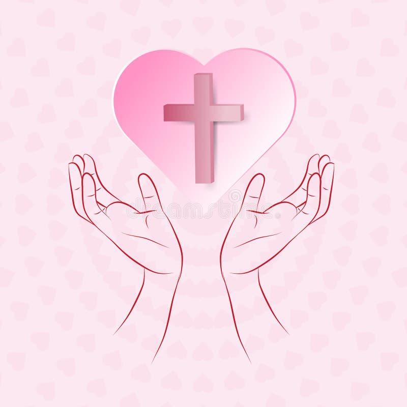 真实的十字架在漂浮在桃红色backgr的人的手的桃红色心脏 皇族释放例证