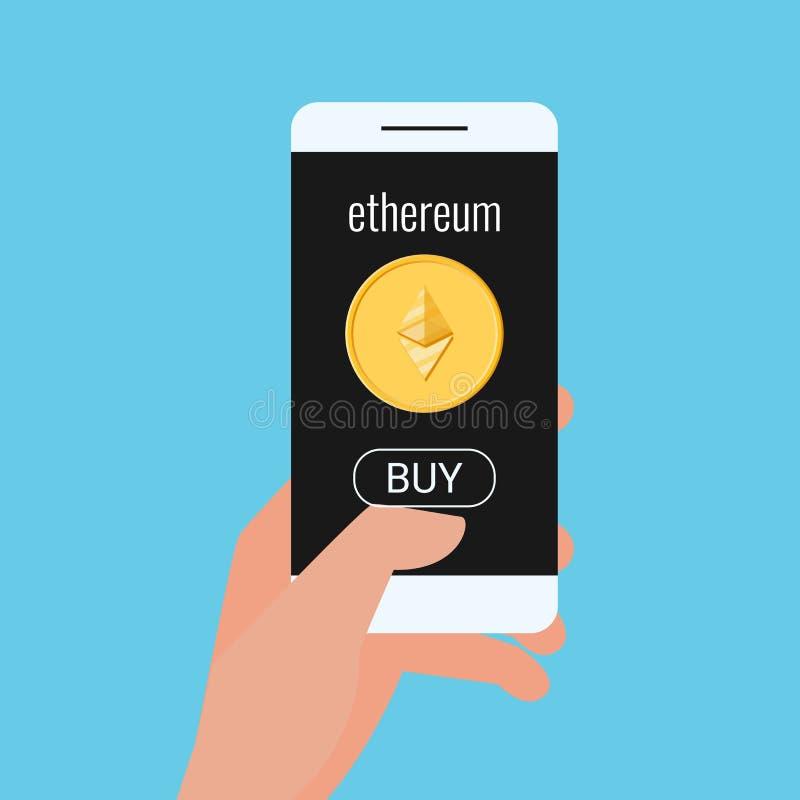 真正企业数字式Ethereum cryptocurrency的概念 手拿着有Ethereum cryptocurrency和购买按钮的智能手机 皇族释放例证