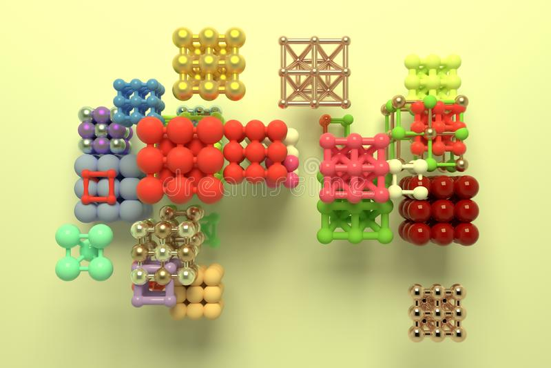 真正几何,分子样式concepture、被连结的正方形或者金字塔设计纹理的,背景 3d回报 向量例证