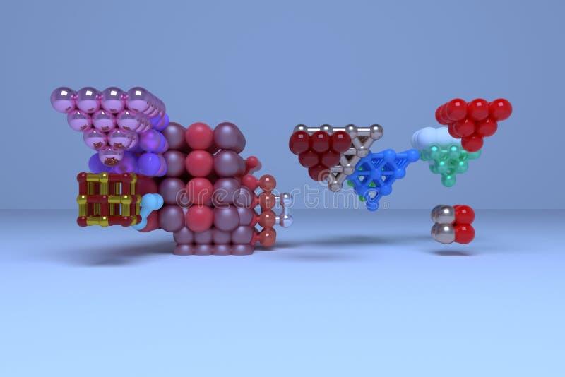 真正几何,分子样式concepture、被连结的正方形或者金字塔设计纹理的,背景 3d回报 库存例证