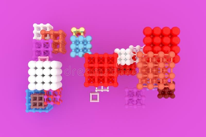真正几何,分子样式concepture、被连结的正方形或者金字塔设计纹理的,背景 3d回报 皇族释放例证