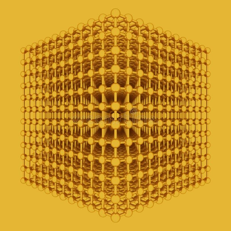 真正几何,分子样式concepture,设计纹理的,背景被连结的球形 3d?? 库存例证