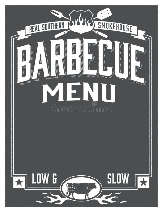 真正南部的烤肉菜单设计 向量例证