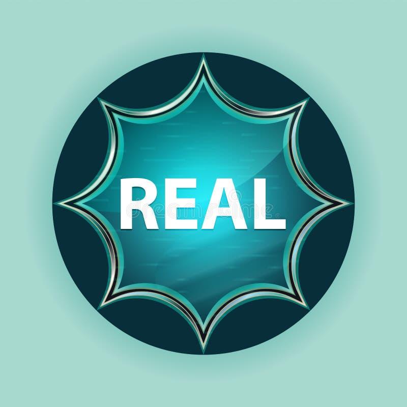 真正的不可思议的玻璃状旭日形首饰蓝色按钮天蓝色背景 库存例证