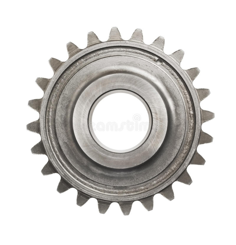 真正的不锈钢齿轮 库存照片