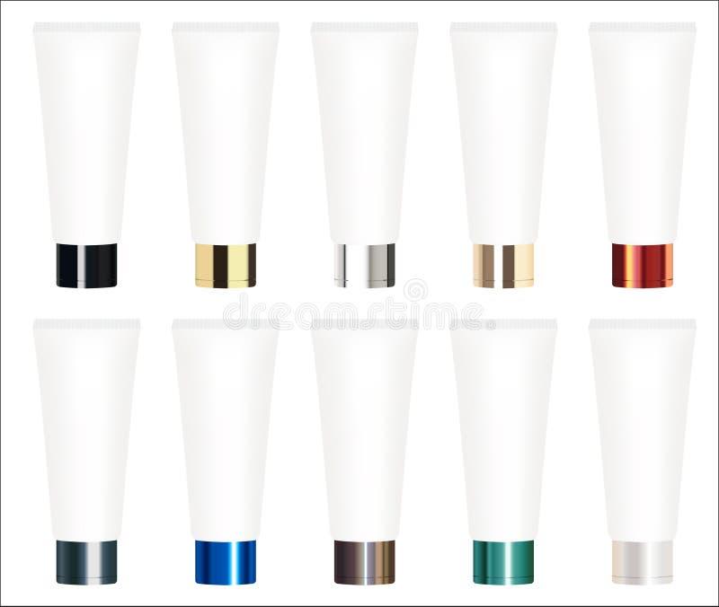 真正的五颜六色的化妆管传染媒介的套 皇族释放例证