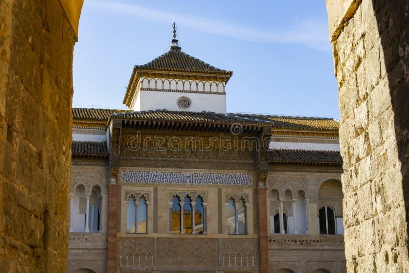 真正的城堡宫殿门面在塞维利亚 免版税库存图片
