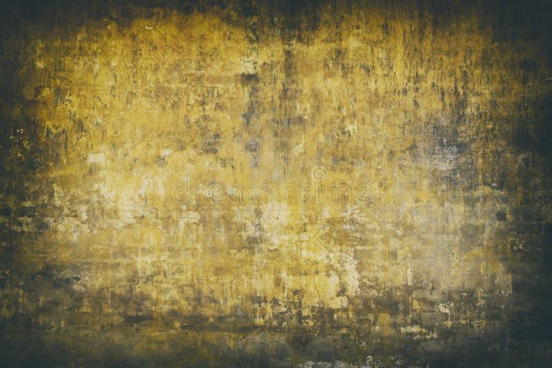 真正的墙壁背景,黄色脏的纹理 免版税库存照片