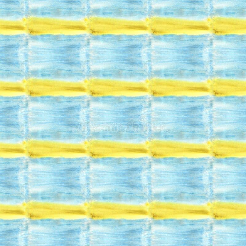 真正的水彩纹理 蓝色和黄色正方形 在水彩纸绘的背景 皇族释放例证