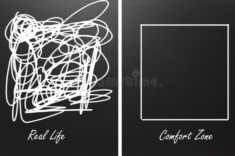 真正的生活和舒适范围的例证黑板的 图库摄影