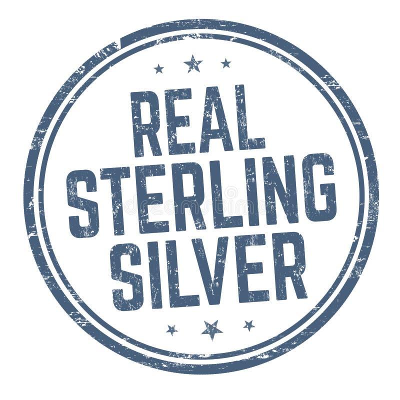 真正的纯银标志或邮票 向量例证