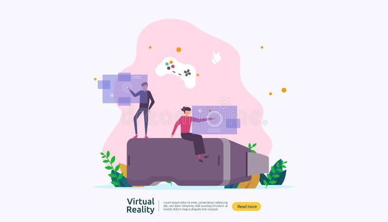 真正被增添的现实 接触VR接口和佩带凝视的人字符打比赛,教育,招待, 向量例证