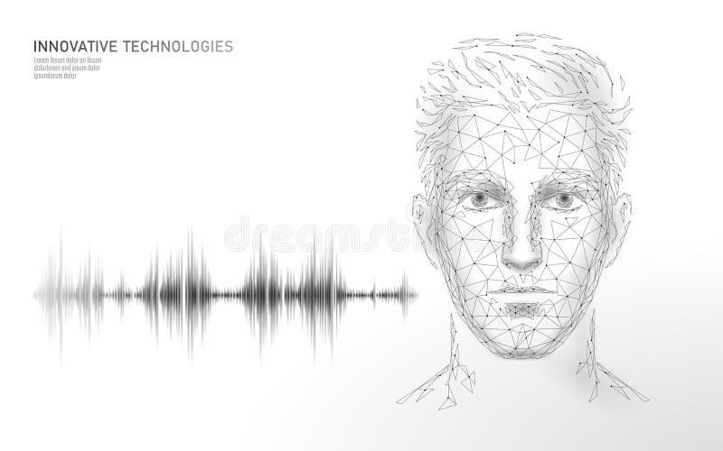 真正辅助语音识别服务技术 AI人工智能机器人支持 Chatbot男性人面孔 库存例证