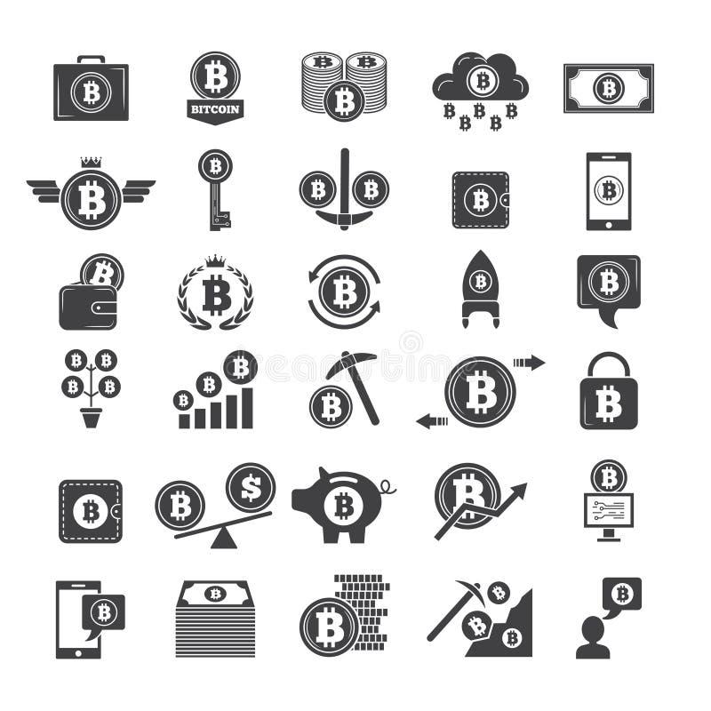 真正金钱的单色标志 电子blockchain产业 网钱包和隐藏事务其他象  向量例证