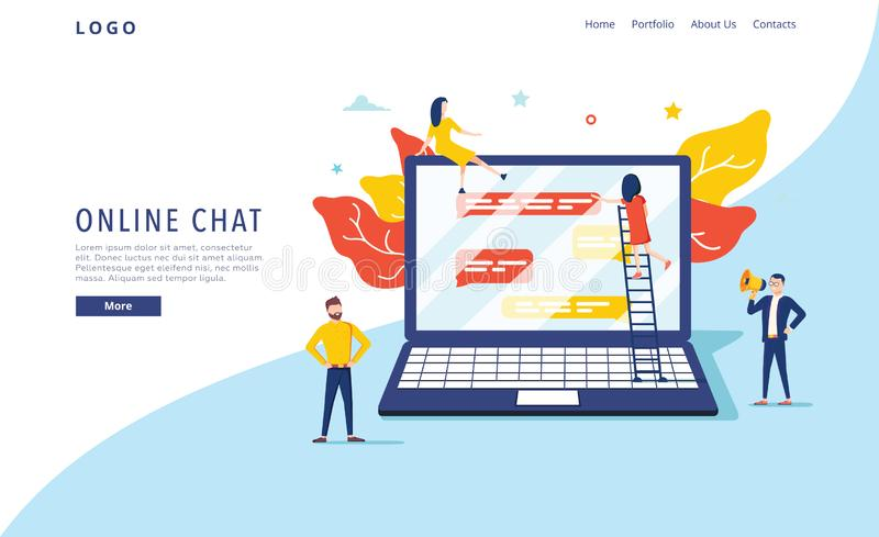 真正闲谈传染媒介例证概念,人在社会媒介,键入在笔记本网络设计的人们聊天 向量例证
