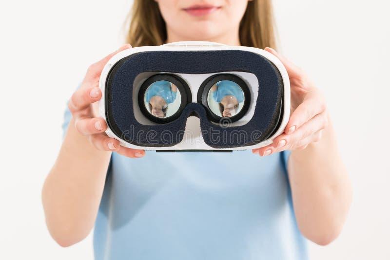 真正vr玻璃风镜耳机概念 免版税图库摄影