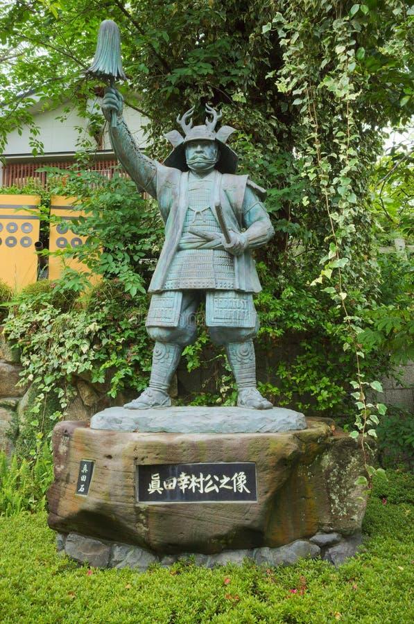 真田幸村古铜色雕象在大阪 库存图片