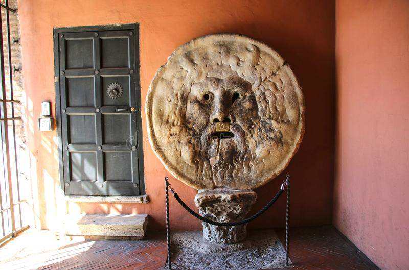 真相Bocca della Verita,圣玛丽亚教会嘴我 免版税库存照片