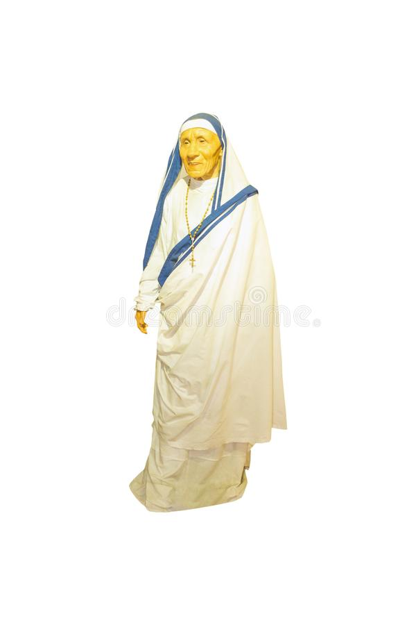 真福加尔各答的德肋撒蜡雕塑 图库摄影