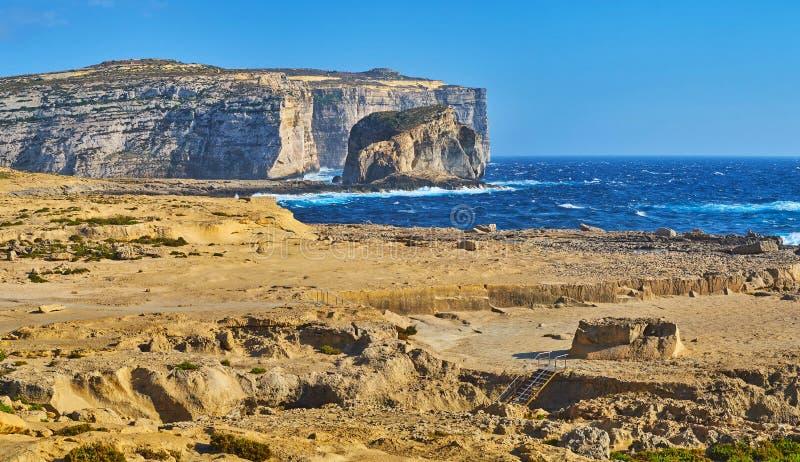 真菌岩石,戈佐岛,马耳他 免版税图库摄影